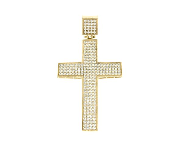Pendentif croix 10k cz 62x34mm