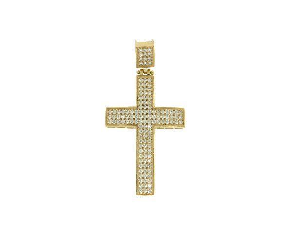 Pendentif croix 10k cz 50x28mm