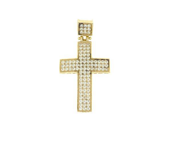 Pendentif croix 10k cz 40x22mm