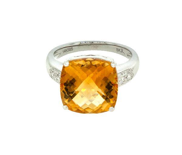 Jolie bague pour dame en or 14k blanc sertie de diamants et d'une citrine