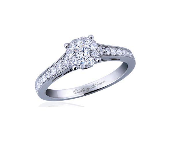 Bague dame ''lady dream'' or 18k blanc sertie de 28 diamants (illusion 0,75 carat)