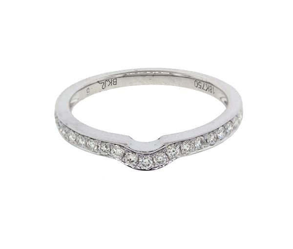 Jonc contour en or 18k blanc serti de 19 diamants