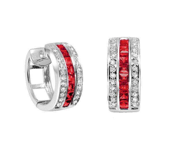 Boucle 10k 16=0,50ct rubis+0,18 diamants