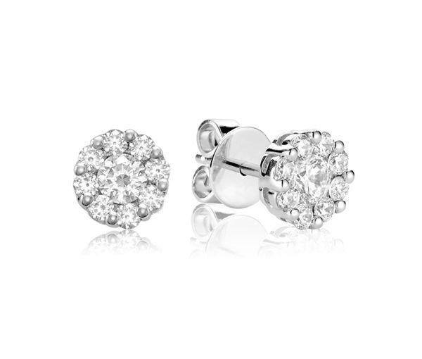Boucles 14k blanc 18=0,15 diamants si2