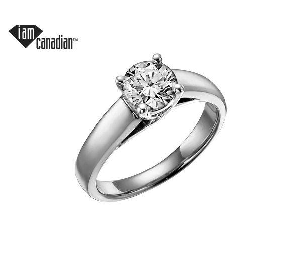 Bague dame solitaire or 14k blanc sertie d'un diamant canadien