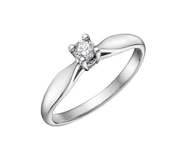 Bague dame solitaire or 10k blanc sertie d'un diamant