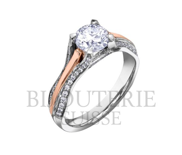 Bague dame or 18k 2 tons sertie d'un diamant canadien et de 62 diamants