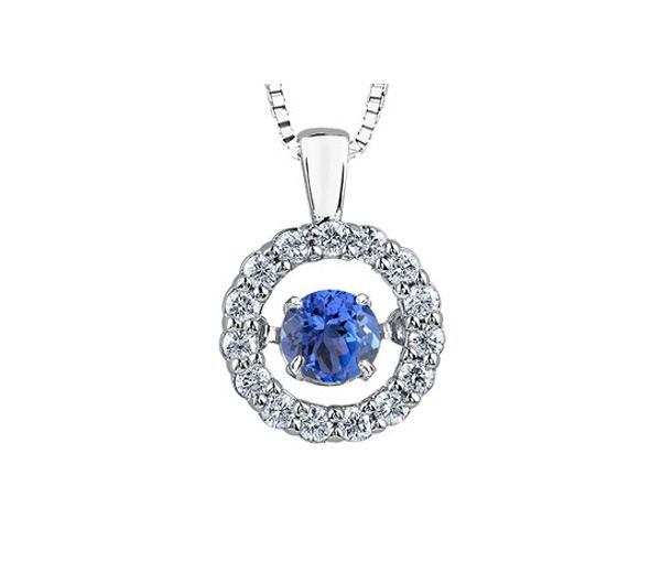 Pendentif ''pulse'' en or 10k blanc serti de diamants et d'une tanzanite