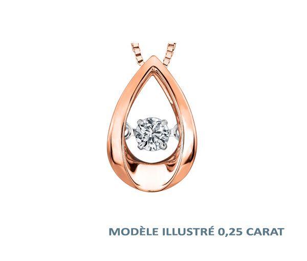Pendentif 10k rose 0,10 diamant pulse 18''