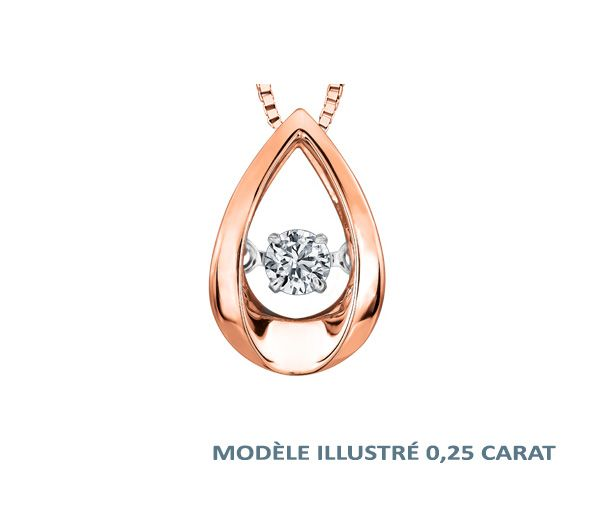 Pendentif rose 10k 0,15 diamant pulse 18''