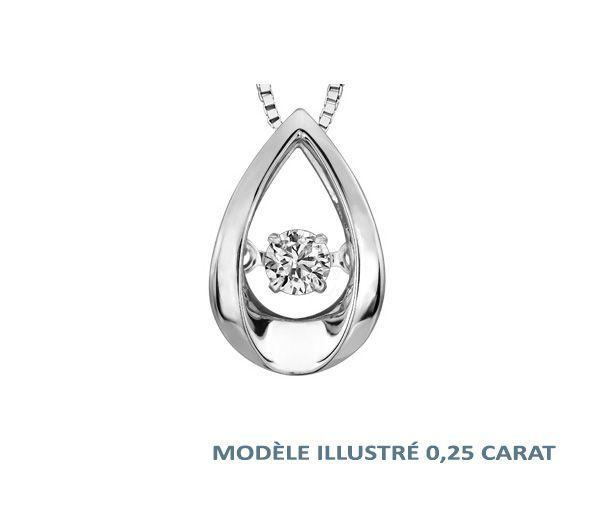Pendentif 10k blanc 0,15 diamant pulse 18''