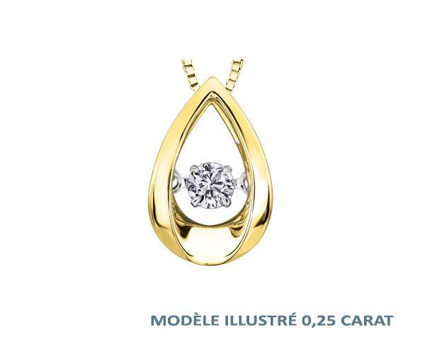 Pendentif 10k 0,03 diamant pulse 18''