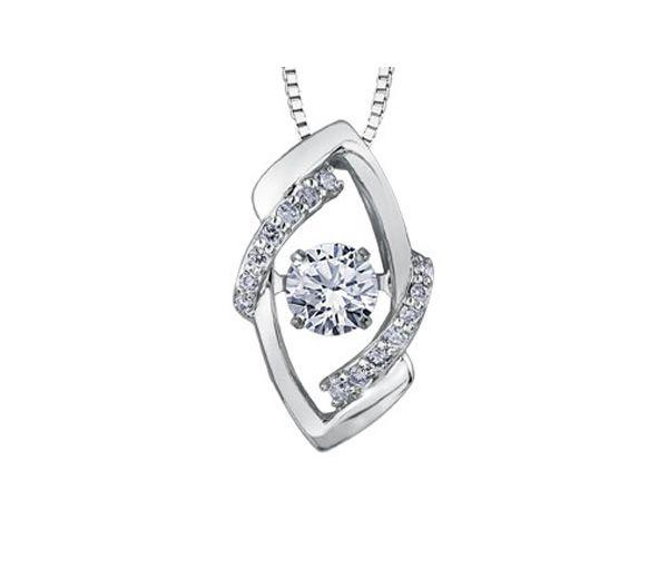 Pendentif pulse or blanc 10k 0,20 diamant +14=0,05 diamant i1