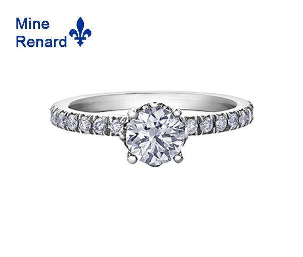 Bague dame en or 18k blanc et platine sertie d'un diamant québécois et de 26 diamants