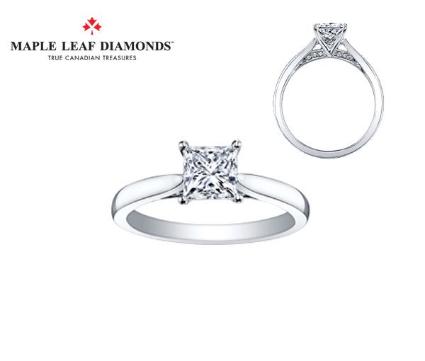 Bague dame or 18k blanc sertie d'un diamant canadien princesse