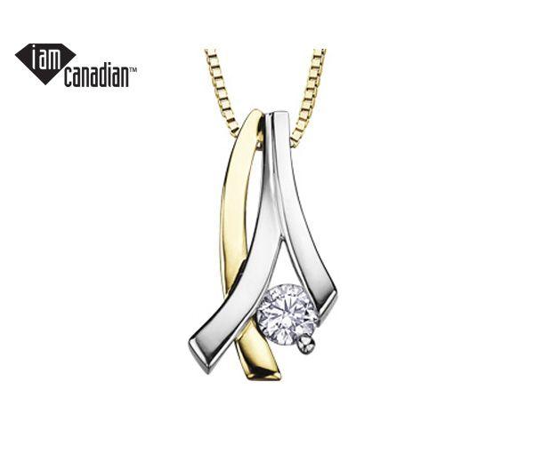 Pendentif en or 14k 2 tons serti d'un diamant canadien