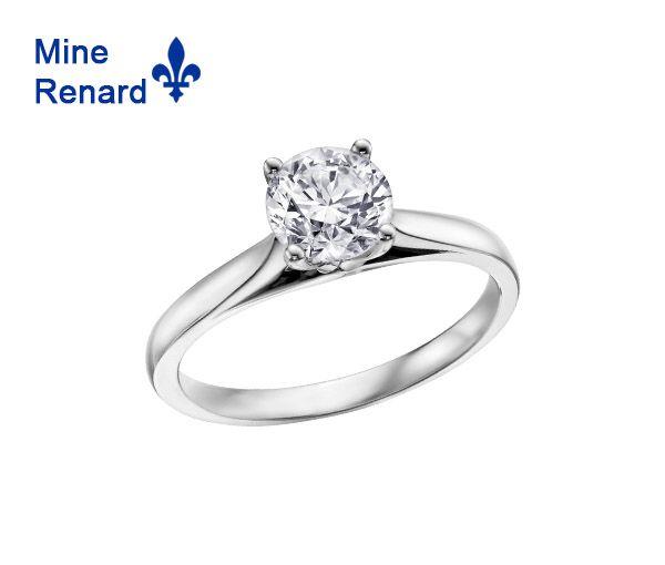 Bague dame solitaire en or 14k blanc sertie d'un diamant québécois