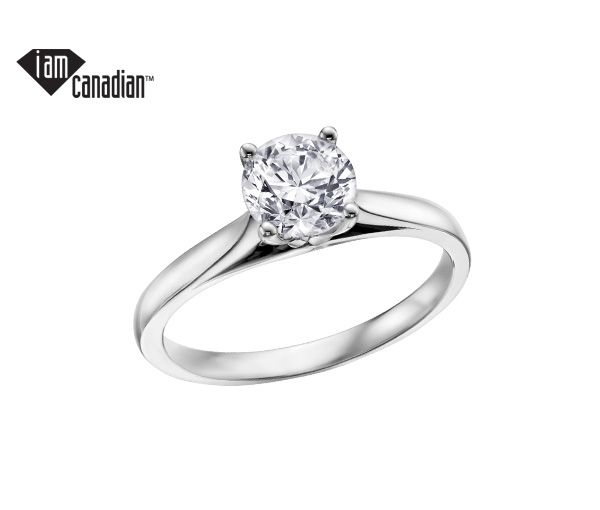 Bague dame en or blanc 14k serti d'un diamant canadien de 20pts