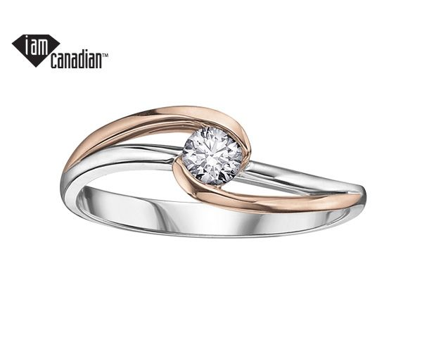 Bague dame en or 14k 2 tons sertie d'un diamant canadien