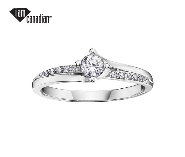 Bague dame or 14k blanc sertie de 13 diamants