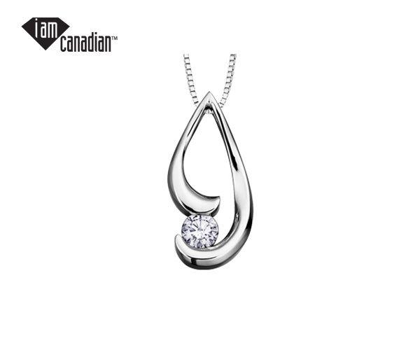 Pendentif 10k blanc 0,18 diamant canadien i1 18'' couleur=g
