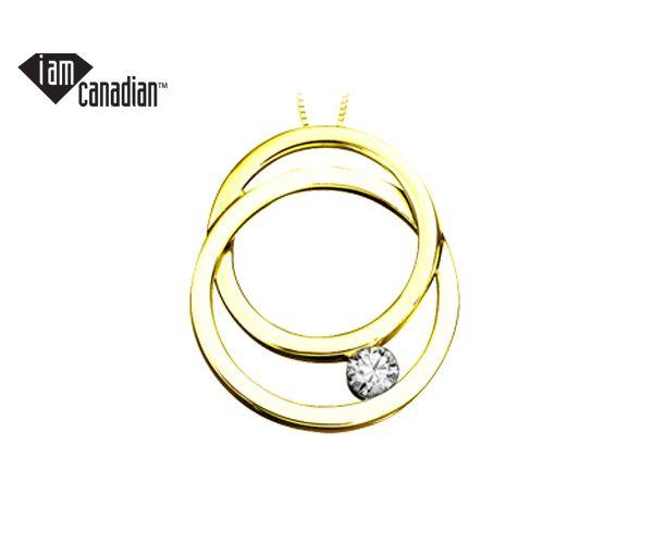 Pendentif 2 cercles 10k 0,09 diamant canadien i1 18''