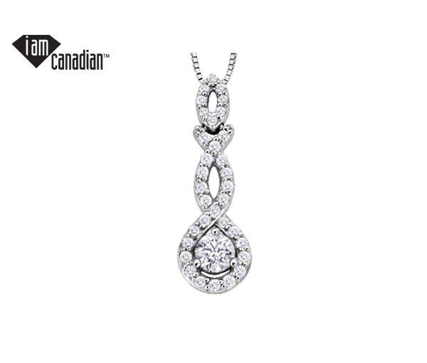 Pendentif 14k blanc 0,18 diamant canadien i1+33=0,22 18''