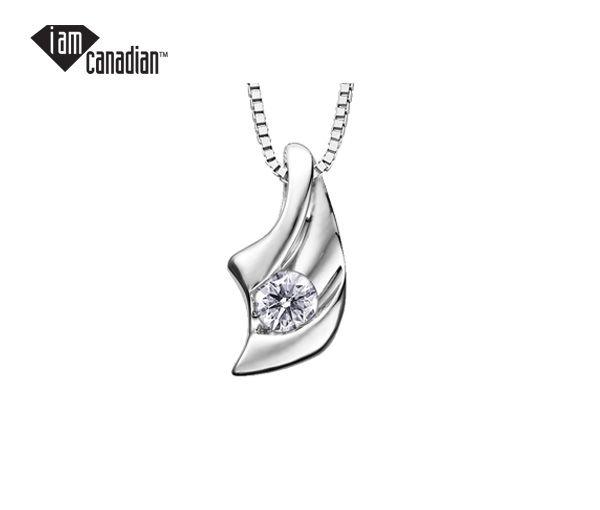 Pendentif 14k blanc 0,23 diamant canadien i2 18''