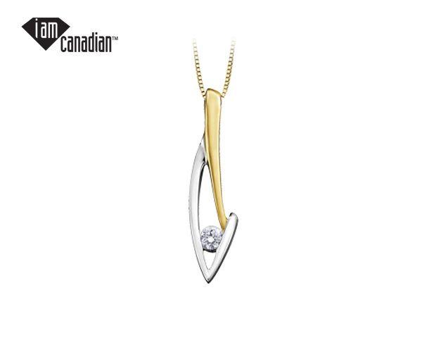 Pendentif 10k 2 ton 0,09 diamant canadien i1 18''