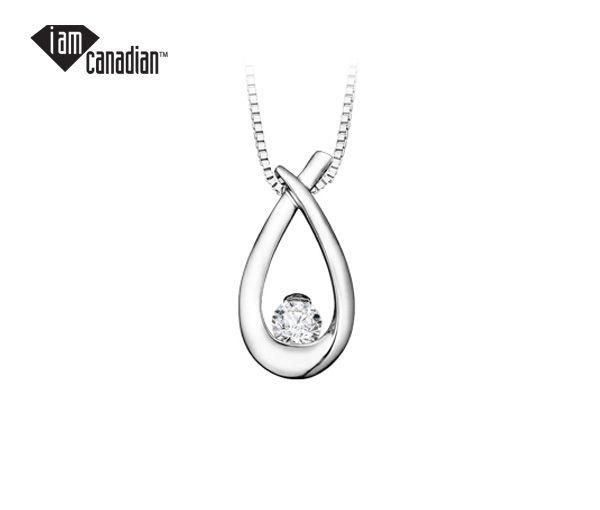 Pendentif 10k blanc 0,24 diamant canadien i2 18''