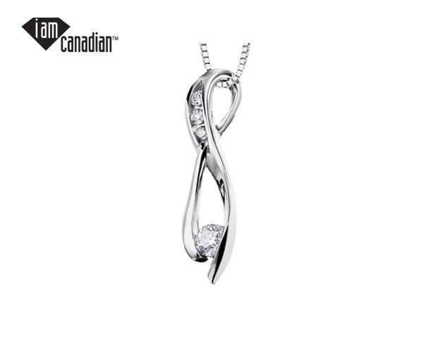 Pendentif 10k blanc 0,11 diamant canadien + 0,04 i1 18''