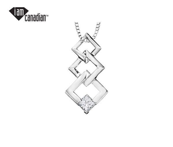Pendentif 10k blanc 0,09 diamant canadien i1 18''