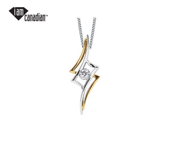 Pendentif 10k 2 ton 0,13 diamant canadien i1 couleur :g 18'
