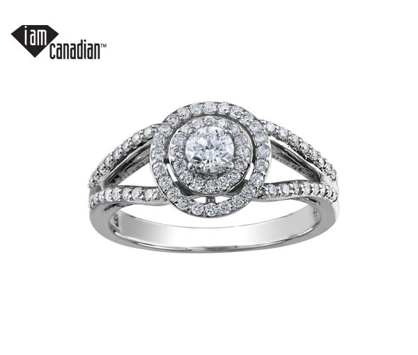 Bague dame or 10k blanc sertie de 73 diamants