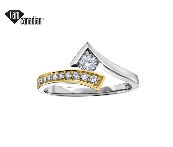 Bague dame or 10k 2 tons sertie de 12 diamants