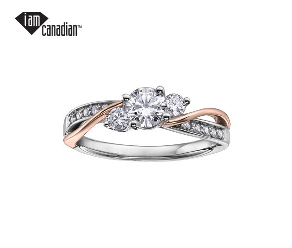 Bague dame or 14k 2 tons sertie de 13 diamants