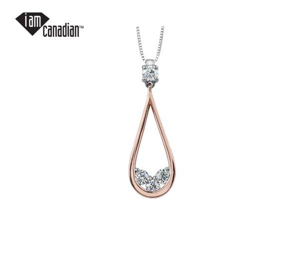 Pendentif 10k 2 ton 4=0,25 diamant canadien i1 couleur=h