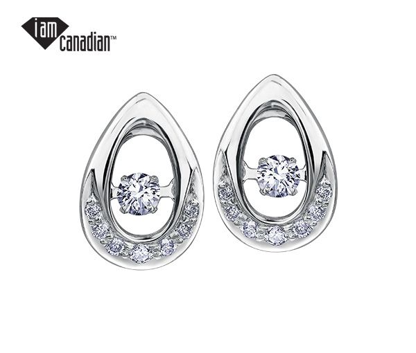 Boucles 14k blanc 2=0,13 diamant canadien 14=0,08 diamant i1