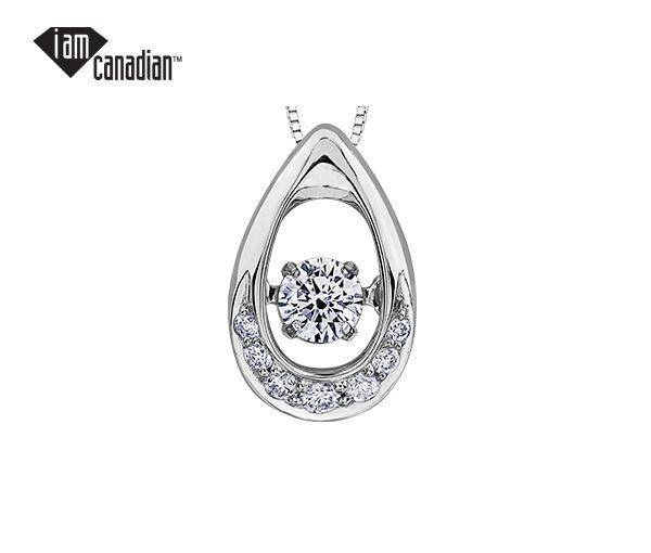 Pendentif 14k blanc 0,13 diamant canadien 0,07 diamant i1 18''