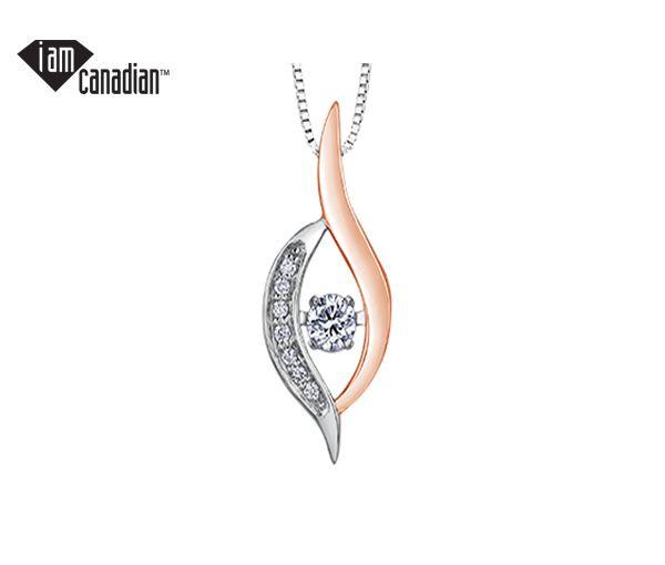 Pendentif 10k 2 ton 0,08 diamant canadien i2 7=0,02 i1 18''