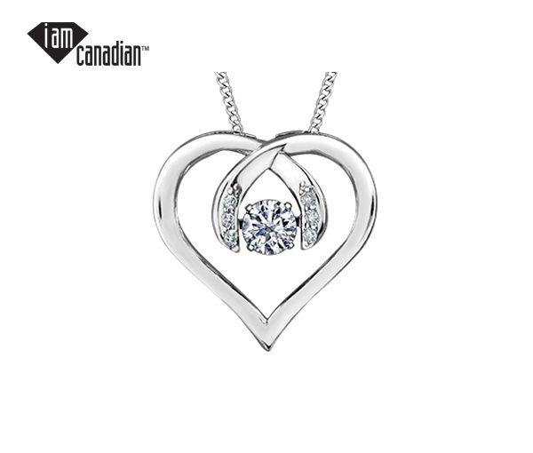 Pendentif coeur 10k blanc 0,12 diamant canadien 0,03 diamant i1-i