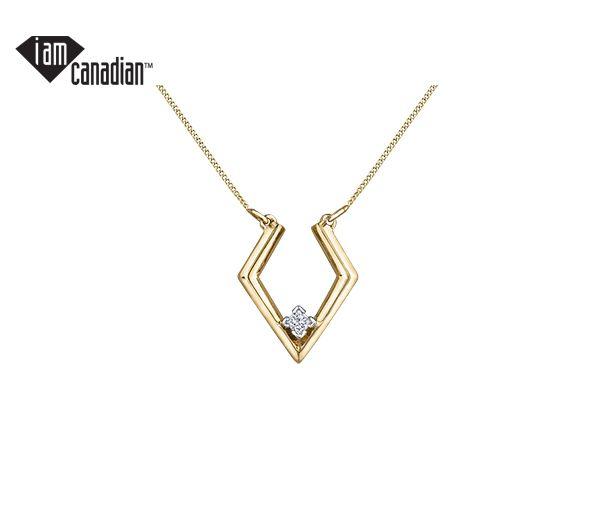 Superbe pendentif pour dame en or 10k serti d'un diamant canadien
