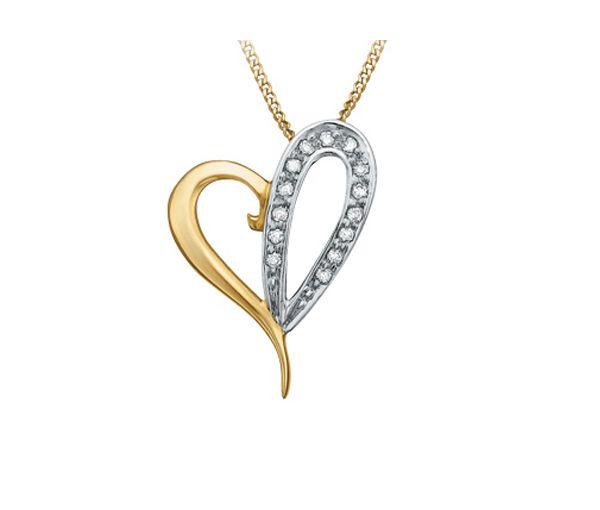 Pendentif 10k 2 ton coeur 0,07 diamant i1 18''