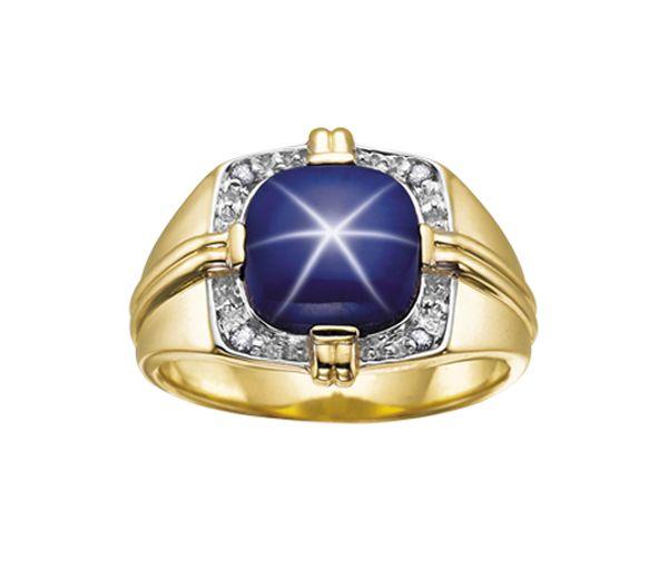 Bague homme or 10k sertie de diamants et d'un saphir étoilé