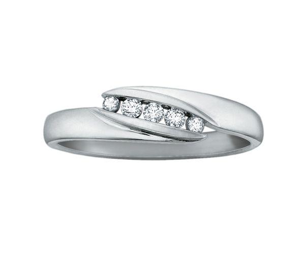 Bague dame or 10k blanc sertie de 5 diamants
