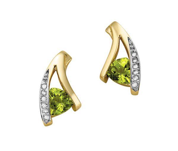 Boucles 10k peridot 0,06 ct diamant