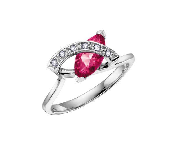 Jolie bague pour dame en or 10k blanc sertie d'un topaze rose et de diamants