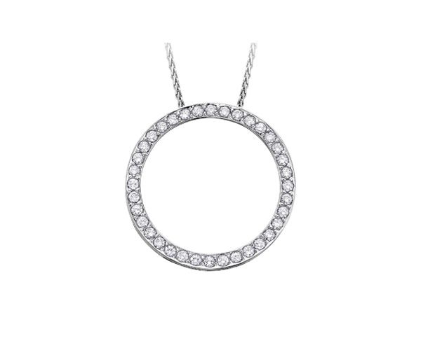 Pendentif 10k blanc 25=o,25 diamant i1 18''