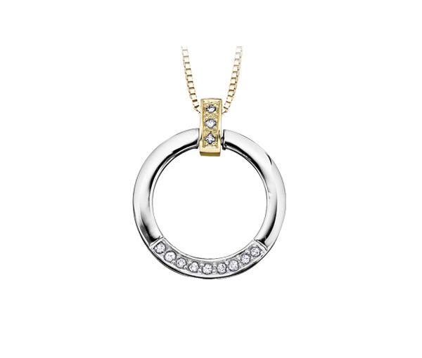 Pendentif 10k 2 ton 12=0,12 diamant si2-i1 18''