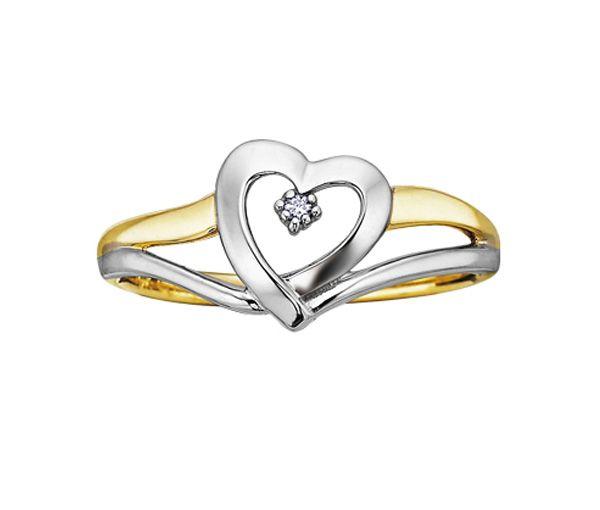 Bague dame coeur or 10k 2 tons sertie d'un diamant